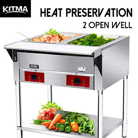 120 V Commercial Electric Food Warmer – Kitma 2 Pot Stainless Steel Steam Table, Buffet Server for Catering and Restaurants, Only Ship to CA, NV, AZ