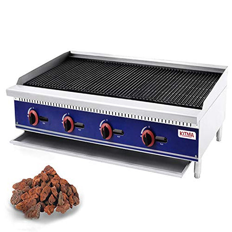 Kitma 48'' Lava Rock Charbroiler - Natural Gas Char Rock Broiler with Grill - Restaurant Equipment for BBQ