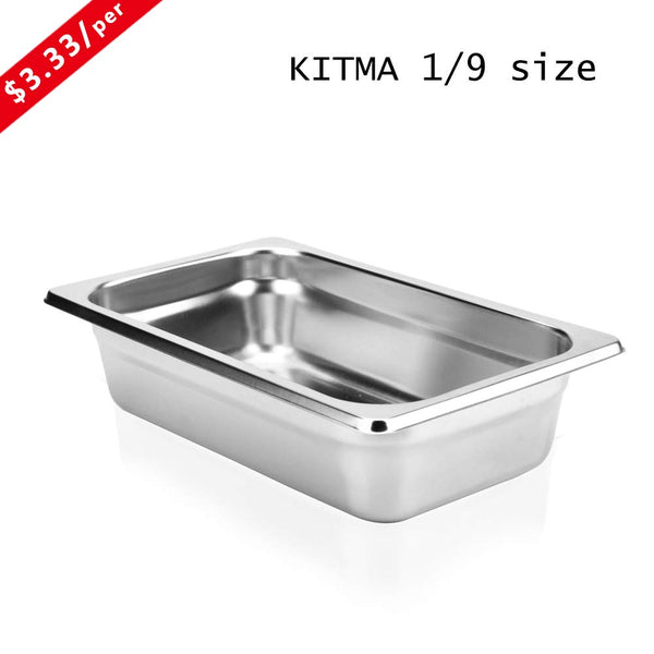 "2 1/2"" Deep Steam Table Pan 1/9 Size, Kitma 0.6 Quart Stainless Steel Anti-Jam Standard Weight Hotel GN Food Pans - NSF (6.93""L x 4.25""W) - 12 Pack"