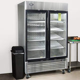 Kitma Merchandiser Freezer with 2 Glass Door - Commercial 49 Cu.Ft Display Beverage Cooler with LED Lighting, 0°F - 8°F