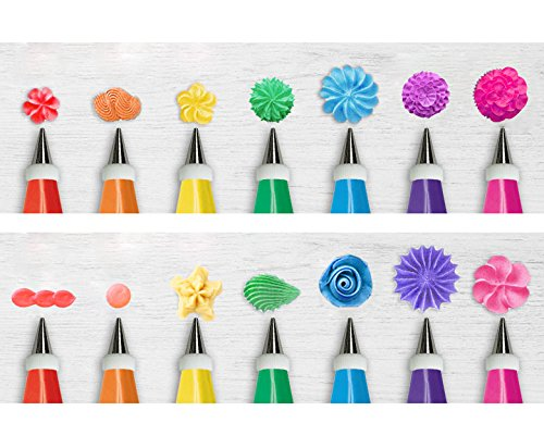 32-Piece Cake Decorating Supplies Tips Kits Stainless Steel Baking Supplies Icing Tips with Pastry Bags, 3 Icing Smoothers, 1 Flower Nails and 2 Reusable Coupler