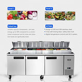 Kitma 93'' 3 Door Refrigerated Pizza Prep Table - Commercial 28.4 Cu.Ft Salad Prep Table Refrigerator with Cutting Board and 12 Pans for Restaurant, 33 °F - 38°F