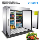 Commercial 3 Door Upright Refrigerators - KITMA Side by Side Stainless Steel Fridge with Shelves for Restaurant, Bar, 33°F - 38°F
