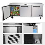Commercial Undercounter Refrigerator - KITMA 72 Inches 21 Cu.Ft Stainless Steel Under Counter Fridge, 33°F -38°F