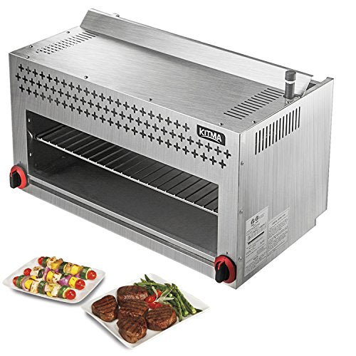 "Commercial 36"" Countertop Salamander Broiler - KITMA Natural Gas Cheese Melter with Ceramic Infrared Burner for Chips, Toast Sandwiches, Pizzas"