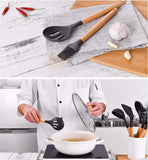 11 Sets Of Food-grade Kitchenware With Silica Gel Wooden Handle