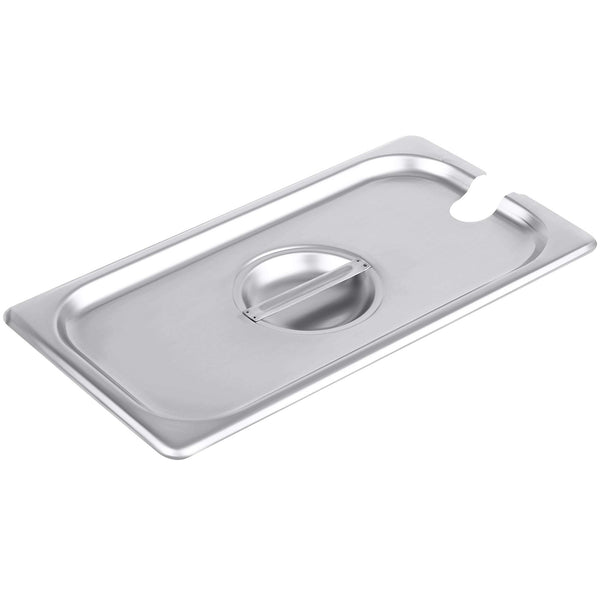 1/3 Size Stainless Steel Slotted Steam Table Pan Cover, Pan Lids, Non-Stick Surface, Lid for 1/3 Size Steam Pans with Handle