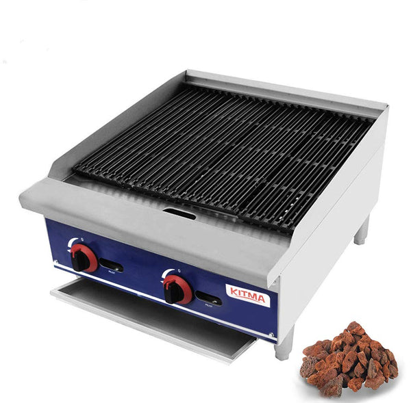 Commercial Countertop 24'' Gas Lava Rock Charbroiler - KITMA Stainless Steel Flat Top Char Rock Broiler with Grill - Restaurant Equipment