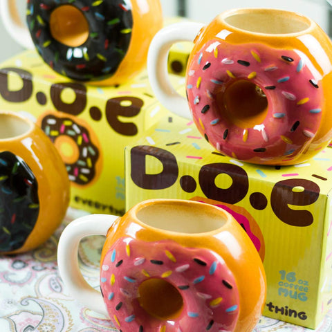 Large 16oz Ceramic Donut Mug by Donuts Over Everything (Pink)