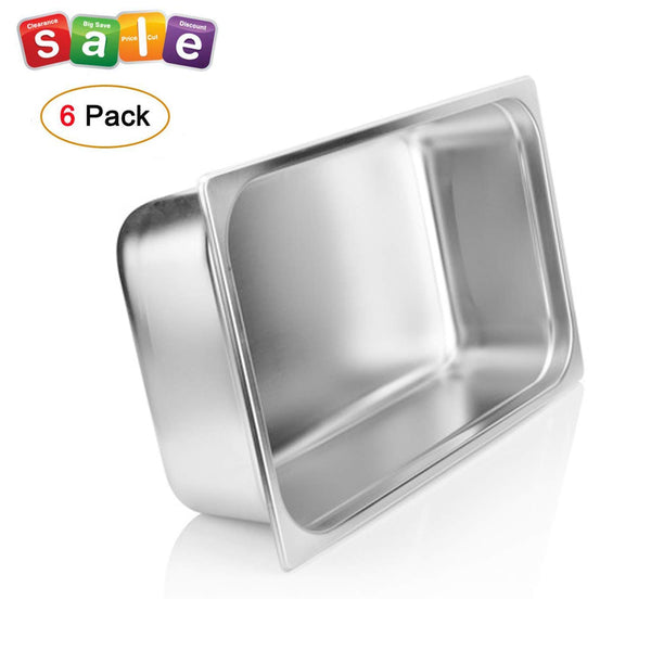"4"" Deep Steam Table Pan Full Size, Kitma 14 Quart Stainless Steel Anti-Jam Standard Weight Hotel GN Food Pans - NSF (20.87""L x 12.8""W)- 6 Pack"