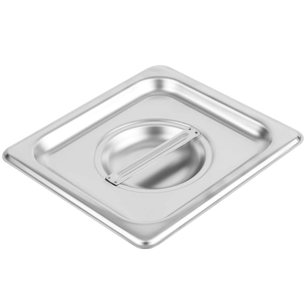 1/6 Size Stainless Steel Solid Steam Table Pan Cover, Kitma Pan Lids, Non-Stick Surface, Lid for 1/6 Size Steam Pans with Handle - 12 Pack