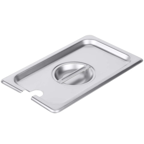 1/4 Size Stainless Steel Slotted Steam Table Pan Cover, Pan Lids, Non-Stick Surface, Lid for 1/4 Size Steam Pans with Handle