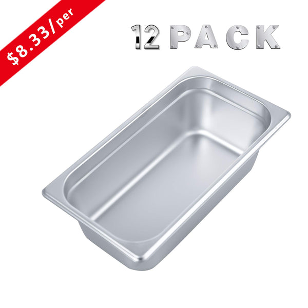 "4"" Deep Steam Table Pan 1/3 Size, Kitma 4.1 Quart Stainless Steel Anti-Jam Standard Weight Hotel GN Food Pans - NSF (12.8""L x 6.93""W) - 12 Pack"