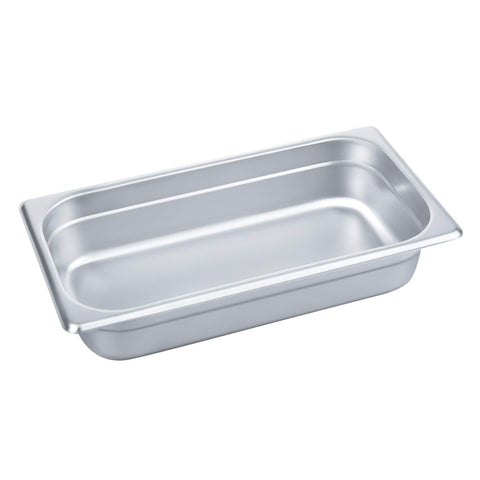 "2 1/2"" Deep Steam Table Pan 1/3 Size, 2.6 Quart Stainless Steel Anti-Jam Standard Weight Hotel GN Food Pans - NSF (13.19""L x 7.28""W)"