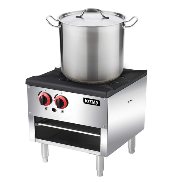 18 Inches Single Stock Pot Stove - KITMA Liquid Propane Stock Pot Range with 2 Manual Controls for Restaurant(Short Body) - 80,000 BTU