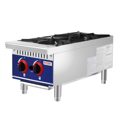 Commercial Countertop Hot Plate - KITMA 12 Inches 2 Burner Liquid Propane Range - Restaurant Equipment for Soups, Sauces