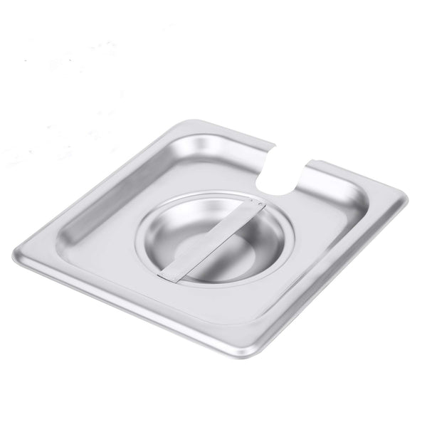 1/6 Size Stainless Steel Slotted Steam Table Pan Cover, Pan Lids, Non-Stick Surface, Lid for 1/6 Size Steam Pans with Handle