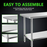 Commercial Kitchen Prep & Work Table, KITMA Stainless Steel Food Prep Tables, 96 x 30 Inches,NSF
