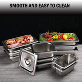 "2 1/2"" Deep Steam Table Pan Full Size, Kitma 8.3 Quart Stainless Steel Anti-Jam Standard Weight Hotel GN Food Pans - NSF (20.87""L x 12.8""W)- 6 Pack"