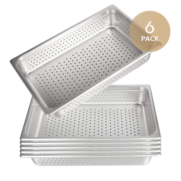 "4"" Deep Perforated Steam Table Pan Full Size, Kitma 14 Quart Stainless Steel Anti-Jam Standard Weight Hotel GN Food Pans - NSF (20.87""L x 12.8""W)- 6 Pack"