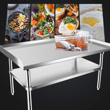 KITMA Stainless Steel Equipment Grill Stand with Undershelf for Restaurant - Heavy Duty Griddle Stand Table - 48x28 Inches