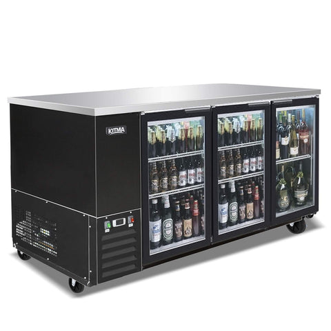 KITMA 90'' 3 Glass Door Back Bar Cooler - Stainless Steel 30 Cu.Ft Beverage Cooler with LED Lighting, 33°F - 38°F