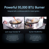 "Kitma 16"" Gas Wok Range - Commercial Liquid Propane Cooking Performance Group - Restaurant Equipment, 110,000 BTU"