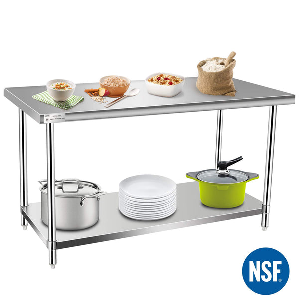Commercial Kitchen Prep & Work Table, KITMA Stainless Steel Food Prep Tables, 60 x 30 Inches,NSF