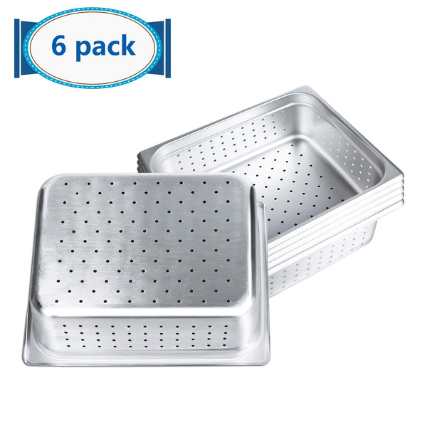 "4"" Deep Perforated Steam Table Pan Half Size, Kitma 6 Quart Stainless Steel Anti-Jam Standard Weight Hotel GN Food Pans - NSF (12.8""L x 10.43""W) - 6 Pack"