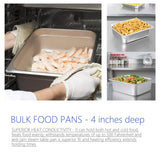 "4"" Deep Steam Table Pan Half Size ,6 Quart Stainless Steel Anti-Jam Standard Weight Hotel GN Food Pans - NSF (13.19""L x 10.83""W)"