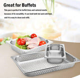 "6"" Deep Perforated Steam Table Pan Full Size, Kitma 21 Quart Stainless Steel Anti-Jam Standard Weight Hotel GN Food Pans - NSF (20.87""L x 12.8""W)- 6 Pack"