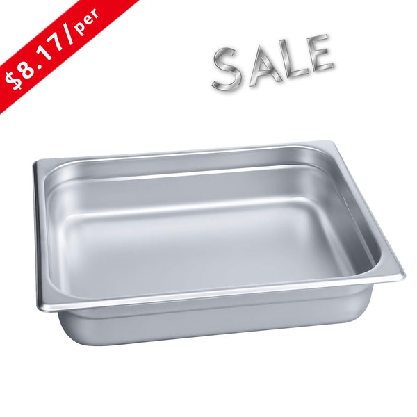 "2 1/2"" Deep Steam Table Pan Half Size,Kitma 4 Quart Stainless Steel Anti-Jam Standard Weight Hotel GN Food Pans - NSF (12.8""L x 10.43""W) - 12 Pack"