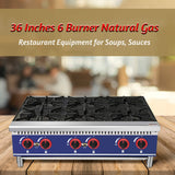 Commercial Countertop Hot Plate - KITMA 36 Inches 6 Burner Natural Gas Range - Restaurant Equipment for Soups, Sauces