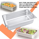 "2 1/2"" Deep Steam Table Pan 1/4 Size, Kitma1.8 Quart Stainless Steel Anti-Jam Standard Weight Hotel GN Food Pans - NSF (10.43""L x 6.37""W) - 12 Pack"