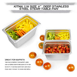 "6"" Deep Steam Table Pan 1/4 Size, Kitma 4.5 Quart Stainless Steel Anti-Jam Standard Weight Hotel GN Food Pans - NSF (10.43""L x 6.37""W) - 12 Pack"
