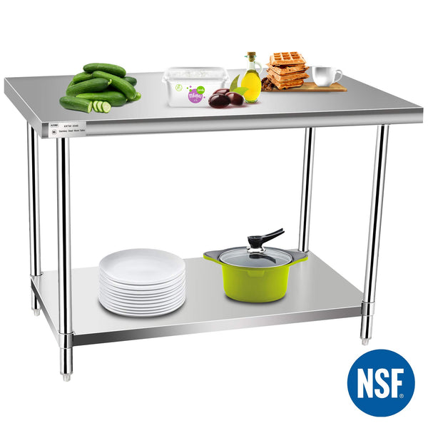 Commercial Kitchen Prep & Work Table, KITMA Stainless Steel Food Prep Tables, 48 x 30 Inches,NSF