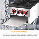 18 Inches 2 Stock Pot Stove - KITMA Liquid Propane Stock Pot Range with 4 Manual Controls for Restaurant(Short Body) - 160,000 BTU