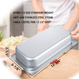"2 1/2"" Deep Steam Table Pan 1/3 Size,Kitma 2.6 Quart Stainless Steel Anti-Jam Standard Weight Hotel GN Food Pans - NSF (12.8""L x 6.93""W) - 12 Pack"