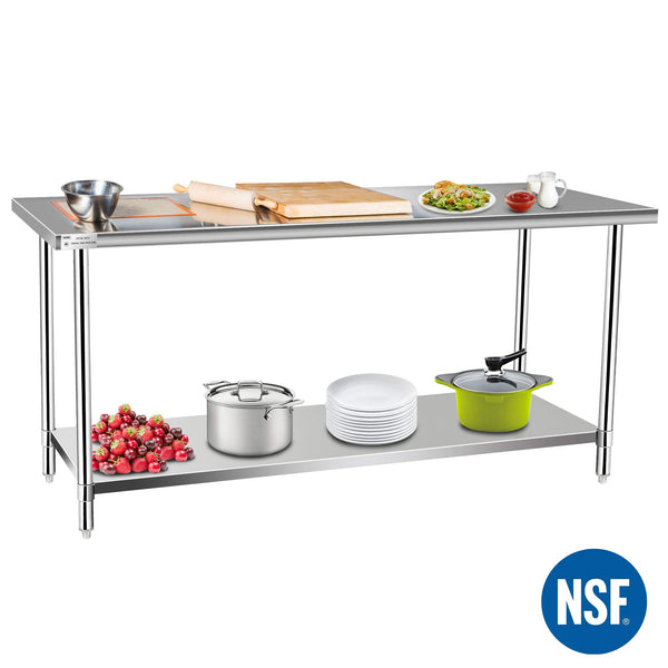 Commercial Kitchen Prep & Work Table, KITMA Stainless Steel Food Prep Tables, 72 x 30 Inches,NSF