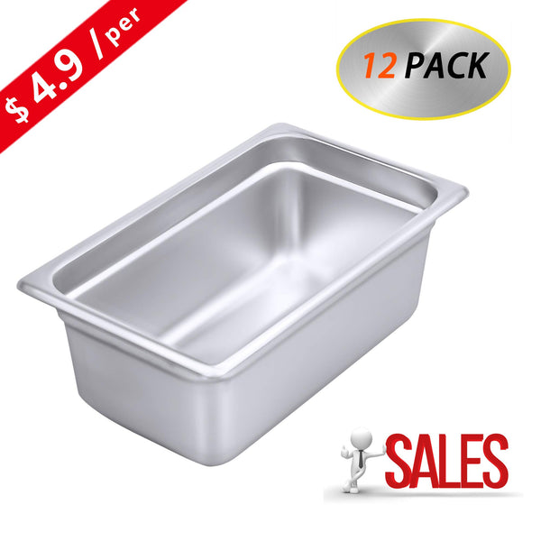 "4"" Deep Steam Table Pan 1/4 Size, Kitma 3 Quart Stainless Steel Anti-Jam Standard Weight Hotel GN Food Pans - NSF (10.43""L x 6.37""W) - 12 Pack"