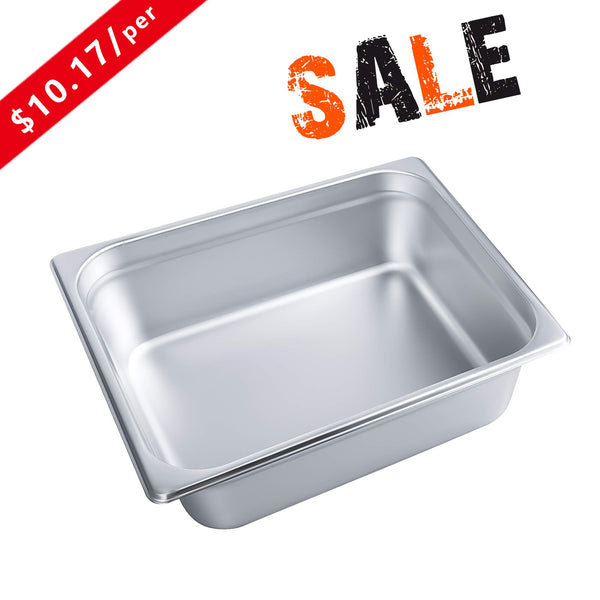 "4"" Deep Steam Table Pan Half Size, Kitma 6 Quart Stainless Steel Anti-Jam Standard Weight Hotel GN Food Pans - NSF (12.8""L x 10.43""W) - 6 Pack"
