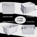 "6"" Deep Steam Table Pan Half Size, Kitma 10 Quart Stainless Steel Anti-Jam Standard Weight Hotel GN Food Pans - NSF (12.8""L x 10.43""W) - 6 Pack"