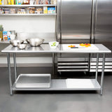 Commercial Kitchen Prep & Work Table, KITMA Stainless Steel Food Prep Table, 72 x 24 Inches,NSF