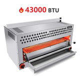 36 Inches Natural Gas Cheese Melter - Kitma Commercial Countertop Infrared Salamander Broiler with 2 Burners 43000BTU for Bread,Pizza,Steak