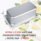 "4"" Deep Steam Table Pan 1/3 Size, 4.1 Quart Stainless Steel Anti-Jam Standard Weight Hotel GN Food Pans - NSF (13.19""L x 7.28""W)"