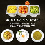 "4"" Deep Steam Table Pan 1/6 Size, Kitma 1.8 Quart Stainless Steel Anti-Jam Standard Weight Hotel GN Food Pans - NSF (6.93""L x 6.25""W) - 12 Pack"