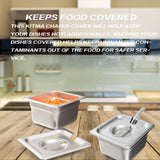 1/6 Size Stainless Steel Slotted Steam Table Pan Cover, Kitma Pan Lids, Non-Stick Surface, Lid for 1/6 Size Steam Pans with Handle - 12 Pack