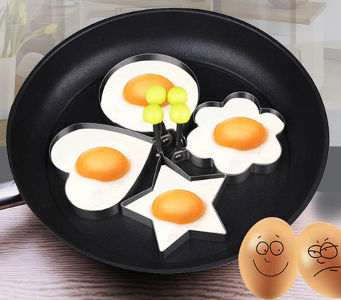 0.6 inch height 4pcs Stainless Steel Heart Flower Round Star Egg Ring DIY Omelette Device Fried Egg Mold Omelettes