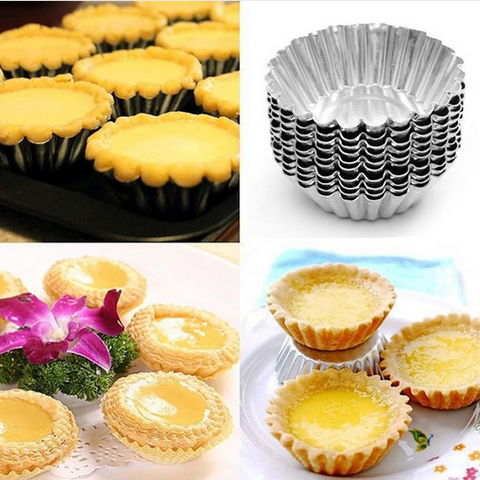 10pcs Nonstick Ripple Aluminum Alloy Egg Tart Mold Flower Shape Reusable Cupcake and Muffin Baking Cup Tartlets Pans