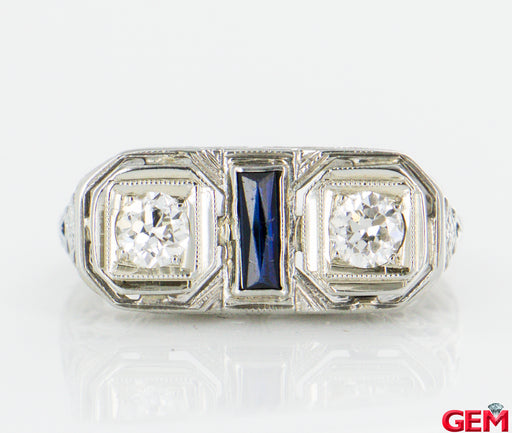 Antique Art Deco Filigree Diamond Sapphire 14k 585 White Gold Ring Size 4 - Pre-Owned for sale at Gem Pawn